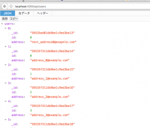 APIから取得したデータ